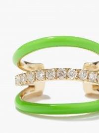 YVONNE LÉON Diamond, green enamel & 9kt gold ear cuff ~ womens luxe single earrings ~ bright ear cuffs