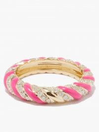 YVONNE LÉON Diamond, pink enamel & 9kt gold ring | luxe textured band style rings | womens fine jewellery