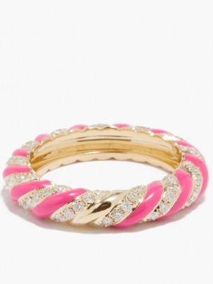 YVONNE LÉON Diamond, pink enamel & 9kt gold ring   luxe textured band style rings   womens fine jewellery - flipped