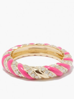 YVONNE LÉON Diamond, pink enamel & 9kt gold ring   luxe textured band style rings   womens fine jewellery