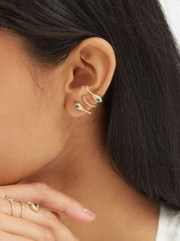 YVONNE LÉON Serpent diamond, malachite & 9kt gold earrings / womens snake themed jewellery
