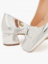 RUPERT SANDERSON Venosa square-toe metallic silver leather pumps / shiny luxe shoes