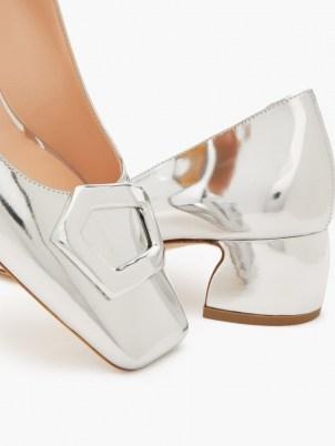 RUPERT SANDERSON Venosa square-toe metallic silver leather pumps / shiny luxe shoes - flipped