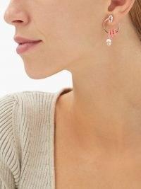 BEA BONGIASCA Vine 9kt rose-gold pink enamel hoop earrings / crystal drop hoops / womens sculptural contemporary jewellery