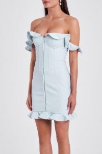LAVISH ALICE micro ruffle corset mini dress in baby blue – ruffled bardot evening dresses – glamorous frill trim going out fashion