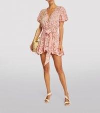 MISA LOS ANGELES Eloise Mini Dress in Rose Lemonade / pink puff sleeve tie waist summer dresses / feminine tie dye fashion