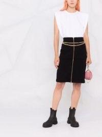 Moschino Iconic black chain-trim pencil skirt | designer zip front skirts