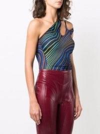 Mugler abstract-print bodysuit   womens retro print bodysuits   asymmetric neckline
