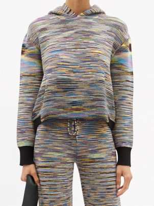 MISSONI Hooded striped wool-blend sweater / womens kangaroo pocket hoodies / women's designer sweaters / women's stylish knitted loungewear - flipped