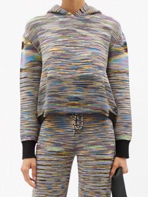 MISSONI Hooded striped wool-blend sweater / womens kangaroo pocket hoodies / women's designer sweaters / women's stylish knitted loungewear