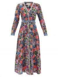 SALONI Lea V-neck blue floral-print silk maxi dress – long sleeve front button occasion dresses – flower prints