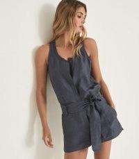 REISS MURPHY LINEN BLEND PLAYSUIT NAVY / chic dark blue sleeveless tie waist playsuits / womens summer fashion