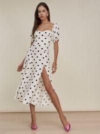 REFORMATION Mylah Dress in Comet / spot print sweetheart neckline midi dresses / puff sleeve fashion / thigh high split hem / fitted bodice