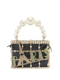 ROSANTICA Holli Paris crystal-embellished cage handbag / glamorous top handle evening bags / glitzy occasion handbag / glittering crystals / party glamour