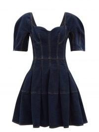 ALEXANDER MCQUEEN Sweetheart-neck denim dress ~ womens designer fit and flare dresses
