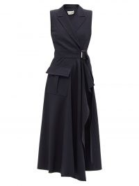 ALEXANDER MCQUEEN Tailored wool-blend crepe wrap dress ~ navy-blue sleeveless asymmetric hem dresses