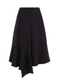 COLVILLE Voulant navy wool-twill midi skirt ~ dark blue asymmetric draped hem skirts