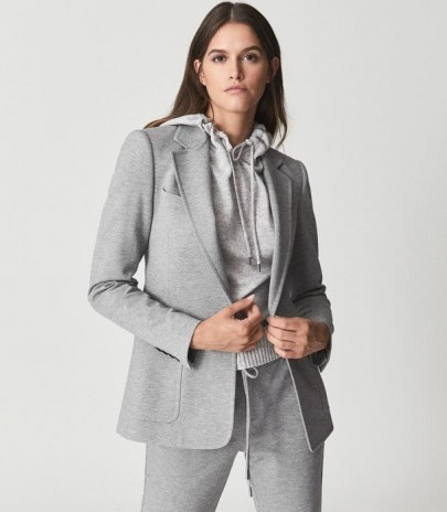 REISS NEAVE SLIM FIT JERSEY-STRETCH BLAZER GREY – womens casual tailored blazers – chic jackets - flipped