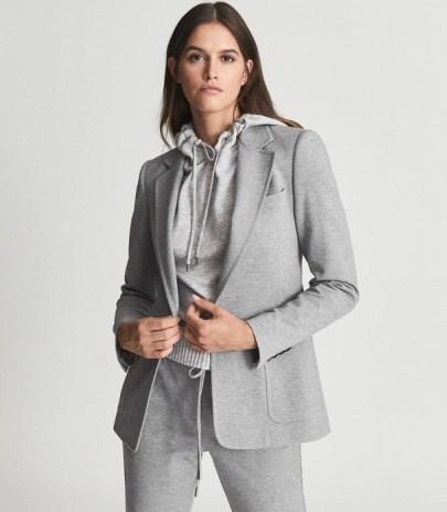 REISS NEAVE SLIM FIT JERSEY-STRETCH BLAZER GREY – womens casual tailored blazers – chic jackets