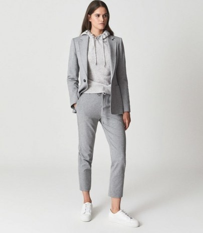 NEAVE SLIM FIT JERSEY-STRETCH TROUSERS GREY ~ womens smart loungewear pants ~ casual chic - flipped