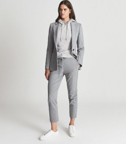NEAVE SLIM FIT JERSEY-STRETCH TROUSERS GREY ~ womens smart loungewear pants ~ casual chic