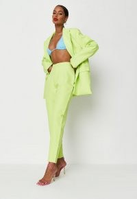 MISSGUIDED neon green co ord cigarette trousers
