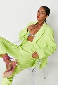 MISSGUIDED neon green co ord oversized blazer ~ women's fashionable blazers ~ womens bright single button jackets ~ summer outerwear