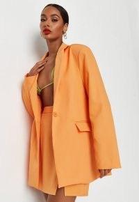 MISSGUIDED neon orange co ord oversized blazer / womens single button summer blazers / on trend jackets