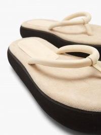 OSOI Boat cream-leather platform flip flops / womens luxe thonged platforms
