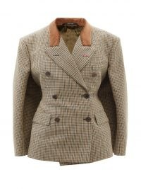 MAISON MARGIELA Double-breasted houndstooth wool cape jacket ~ women's chic dogtooth jackets ~ womens designer outerwear