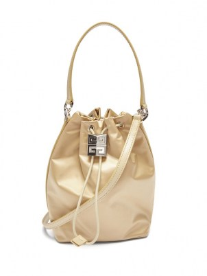 GIVENCHY 4G Light satin bucket bag in beige | small drawstring bags - flipped