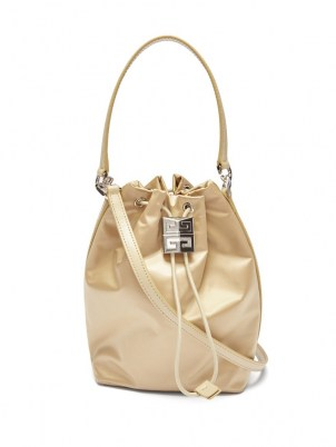 GIVENCHY 4G Light satin bucket bag in beige | small drawstring bags