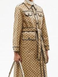 GUCCI GG-jacquard cotton-blend canvas trench coat   womens beige belted tie waist coats   women's designer outerwear