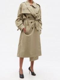 VETEMENTS Human Identity belted cotton-blend trench coat ~ womens designer slogan print coats ~ tie waist outerwear