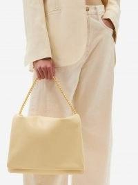 NEOUS Orbit chain-strap cream leather shoulder bag | luxe flap closured handbags | chic bags