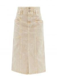 ISABEL MARANT ÉTOILE Toria front-slit beige denim midi skirt ~ A-line 70s inspired skirts ~ womens chic vintage style casual fashion
