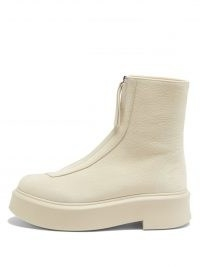 THE ROW Zip-front leather ankle boots ~ womens beige chunky sole boot ~ women's designer footwear
