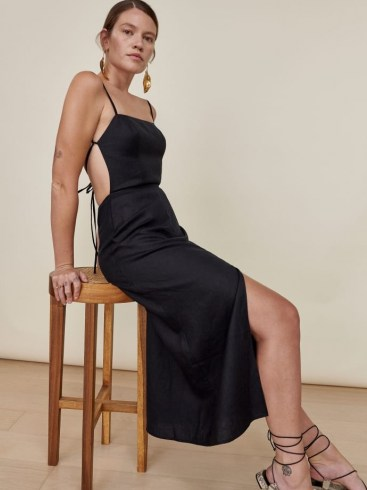REFORMATION Nia Linen Dress in Black / strappy open back summer dresses - flipped