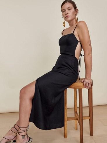 REFORMATION Nia Linen Dress in Black / strappy open back summer dresses