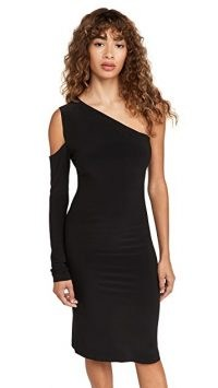 Norma Kamali One Shoulder One Sleeve Dress in Black | LBD | asymmetric party fashion