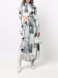 Off-White abstract-print cut-out long dress ~ long sleeve asymmetric hem dresses