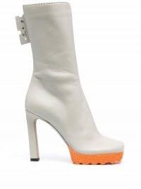 Off-White Sponge 110mm ankle boots in grey/orange ~ womens retro platform footwear