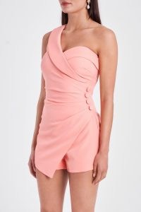 LAVISH ALICE one shoulder button detail playsuit in cantaloupe – glamorous ruched one shoulder evening playsuits