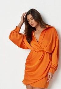 MISSGUIDED orange crinkle satin plunge shirt dress / long sleeve wrap style dresses