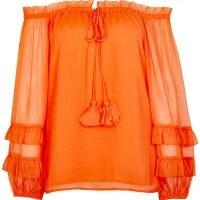 RIVER ISLAND Orange frill detail bardot top / sheer long sleeves / off the shoulder tops / bright boho blouses