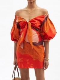 JOHANNA ORTIZ Santillana Del Llano puff-sleeve cotton mini dress – abstract print off the shoulder dresses