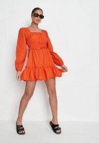 MISSGUIDED orange shirred waist tiered dress / bright square neck ruffle hem dresses / women's on-trend fashion