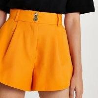 RIVER ISLAND Orange structured paperbag shorts