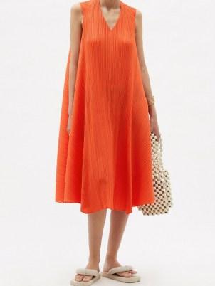 PLEATS PLEASE ISSEY MIYAKE Technical-pleated orange trapeze dress / sleeveless flowing fabric dresses / poolside fashion / beachwear / beach bar cover up - flipped