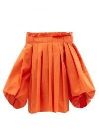 ROKSANDA Vivetta orange pleated off-the-shoulder top / womens bright cotton bardot boho tops